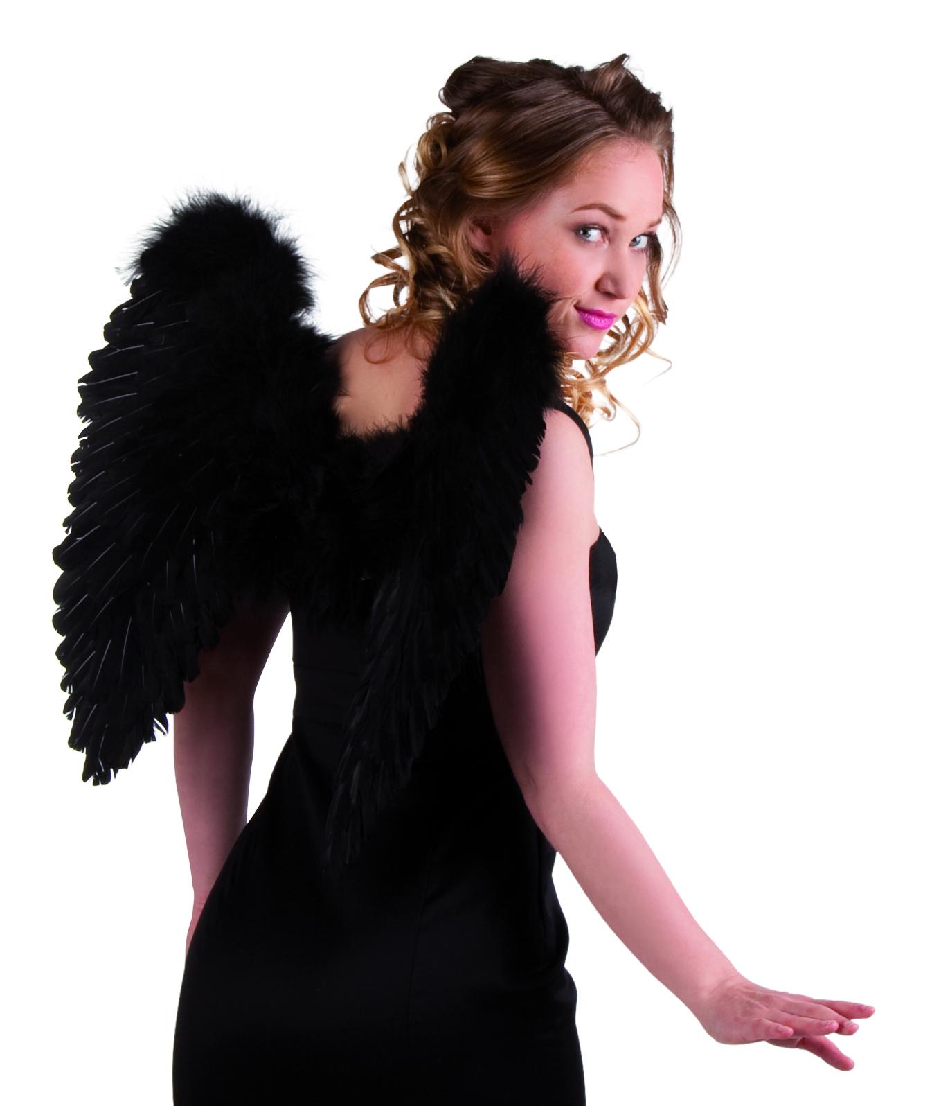 כנפי  מלאך מנוצות שחורות מתקפלות 50 ס